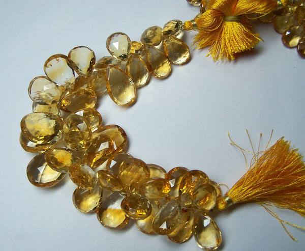 Large Sized Lovely Faceted Citrine Pear Briolette & Heart Briolette Beads Drop in Layout > Wholesale Quantity Lot/Parcel