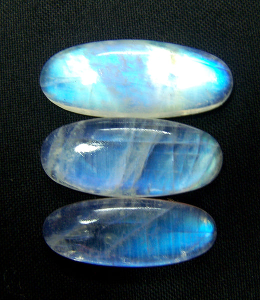 78 Cts Good Quality of White Rainbow Moonstone Long Ovals smooth 3 pieces of cabochons Wholesale lot / parcel Sample