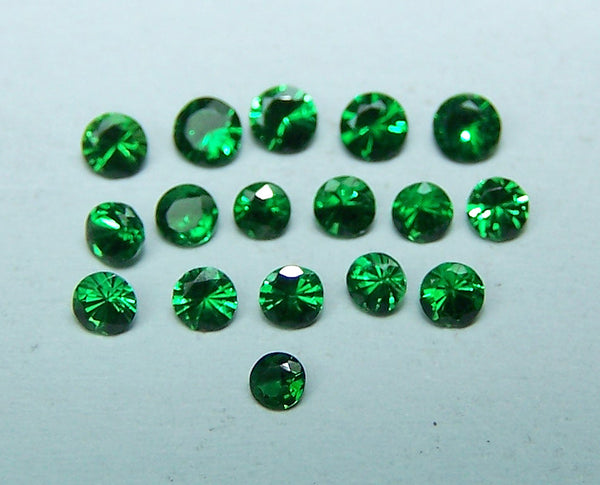 Masterpiece Collection : Amazing Hot Premium Lush Emerald Green 2.2 to 2.8 MM Tsavorite Round Diamond Cut Gems, 100 % Natural Loose (17 pcs) Gemstone Wholesale Sample Lot/Parcel