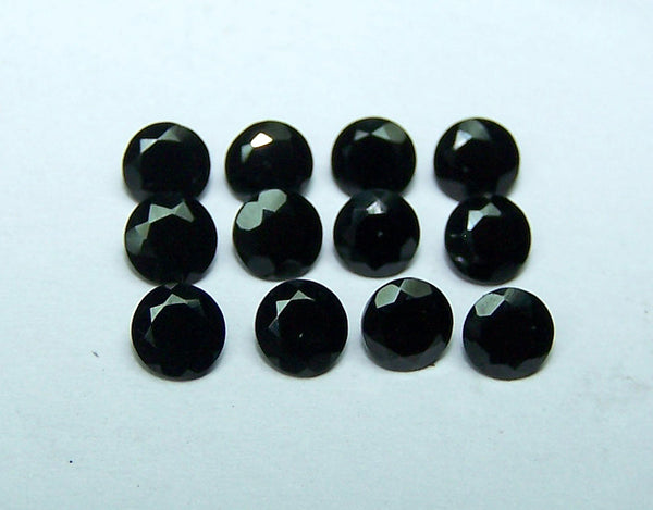 Masterpiece Collection : Amazing Pitch Black 4 Mm Faceted Round Black Spinel, 100 % Natural Loose Gemstone Wholesale Lot/parcel Aaa