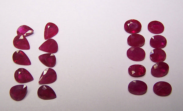 Masterpiece Collection : 6 x 8 MM Size Natural Deep Red Ruby Faceted Loose Oval & Pear Cut Gems Lot/Parcel, Wholesale Sample AAA