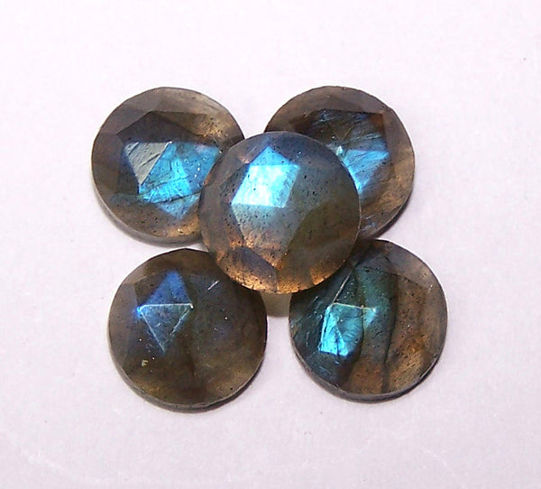 Masterpiece Collection : 8 mm Round Natural Rainbow Flashy Labradorite Rose Cut Round Faceted Cabochon Gems > Wholesale Parcel/Lot