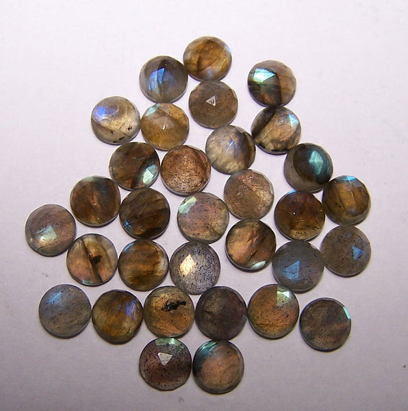 Masterpiece Collection : Amazing Multi Rainbow Fire Color Play Labradorite 6 mm Calibrated Rose Cut Round Cabochons, 100 % Natural Loose Gemstone