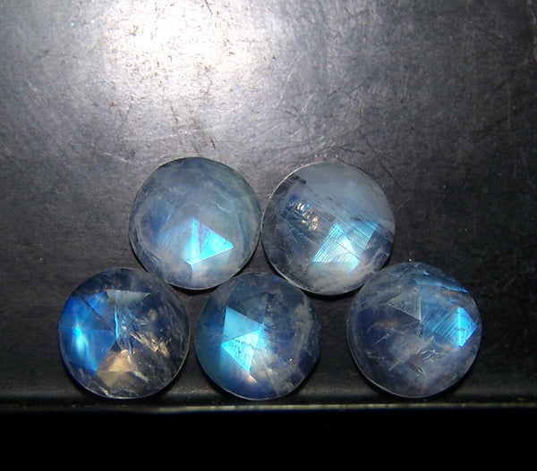 Masterpiece Collection : 7 mm Round Cabochons Pre-Forms of Natural Rainbow Moonstone > Multi Fire Rainbow Moonstone Semi-Translucent Round Ideal for Rose Cut Faceting on Gems > Wholesale Parcel/Lot
