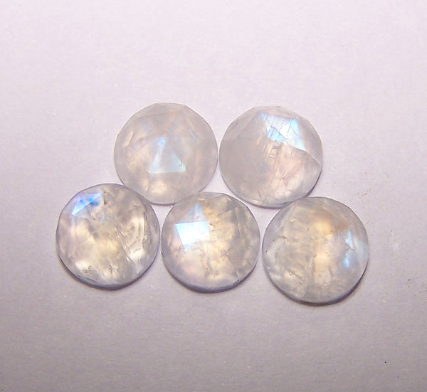 Masterpiece Collection : 8 mm Round Natural Rainbow Flashy White Transparent Moonstone Rose Cut Round Faceted Cabochon Gems > Wholesale Parcel/Lot