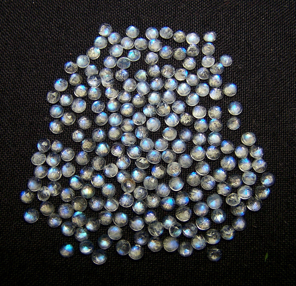Masterpiece Collection : Amazing White Rainbow Moonstone Color Play 3 mm Round Rose Cut Cabochons, 100 % Natural Loose Gemstone