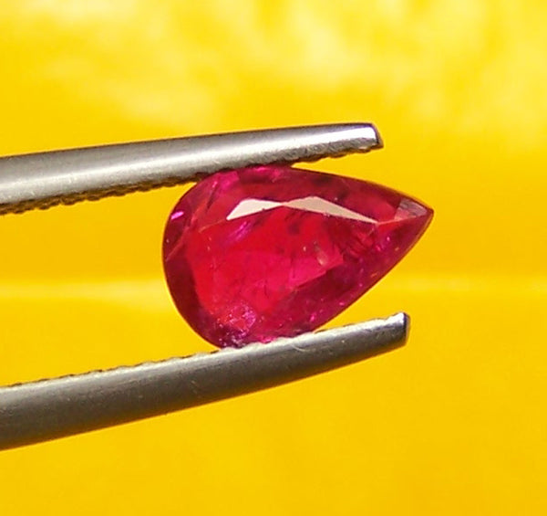 Africa - Mozambique Mines Ruby Faceted Pear Gem, Great color & Transparency, Loose Gemstone AAA