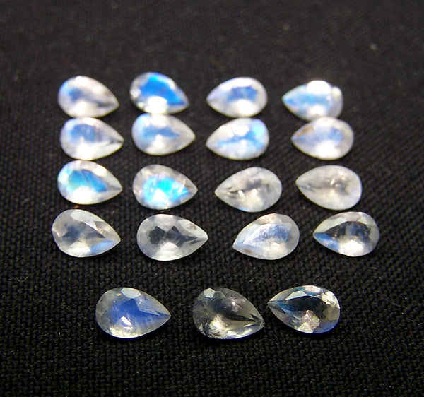 Masterpiece Collection : Transparent 6 X 4 MM Multi Fire White Rainbow Moonstone Faceted Pear Wholesale Parcel/lot AAA Gems