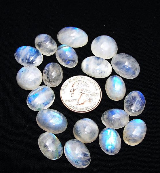 White Rainbow Moonstone Mix shaped smooth cabochons Wholesale Sample lot / parcel, 19 Pieces AAA