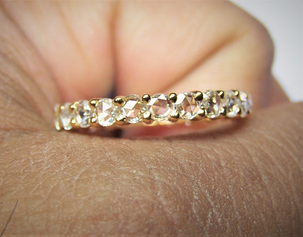 Super Unique, Premium G / VS Rose Cut Diamond Eternity Band/Ring Yellow Gold 18 K > Fine Jewelry