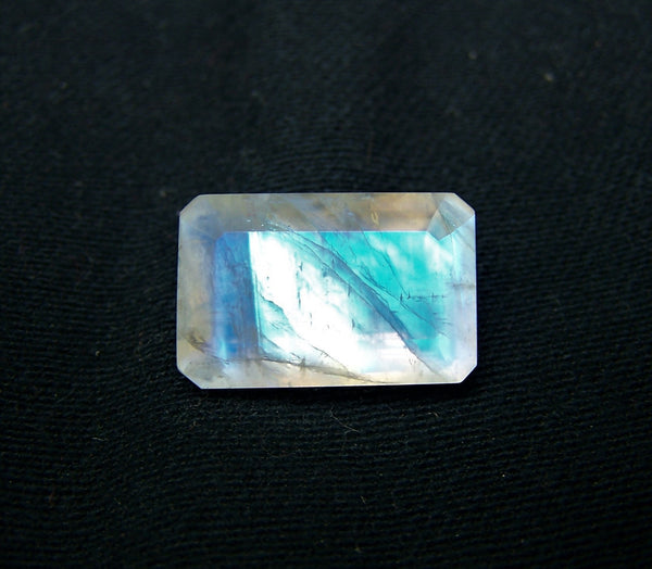Masterpiece Collection : Large 12 x 18 mm Rainbow Moonstone Faceted Emerald Cut Octagon Gem/Multi Rainbow Flashy 100 % Natural AAA