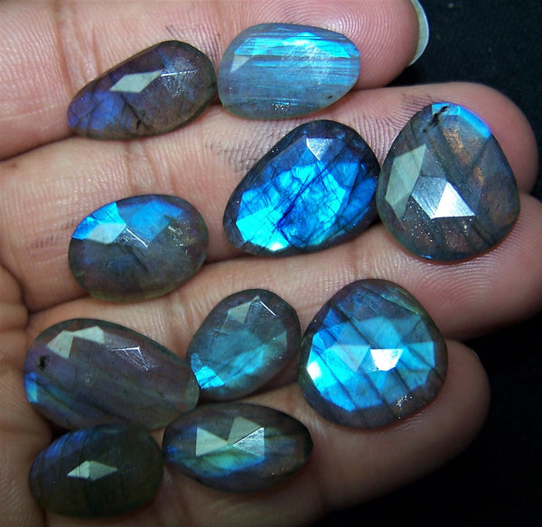 86.80 cts Blue Flashy Premium Size Labradorite 10 pieces Rose Cut Faceted Slice Gems, Wholesale Parcel/Lot of Free Form Loose Gems,100 % Natural AAA