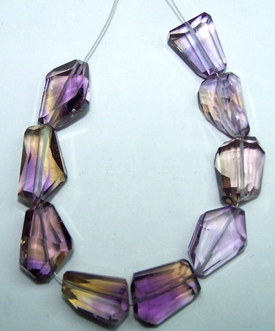 Unique 77.60 Cts Natural Ametrine (Amethyst & Citrine Bio) Faceted Tumble/Nugget Beads - Mini-String