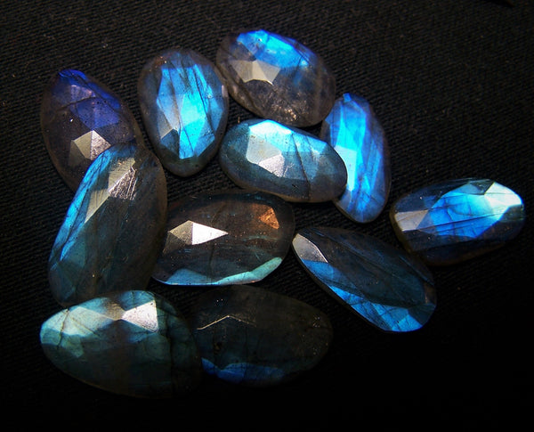 72.30 cts Blue Flashy Labradorite 11 pieces Rose Cut Faceted Slice Gems, Wholesale Parcel/Lot of Free Form Loose Gems,100 % Natural AAA
