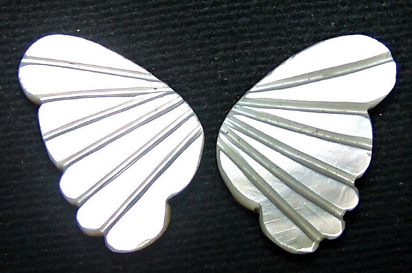 White/Cream MOP (Mother Of Pearl) Fancy Butterfly Wings Shaped Hand Carved Gems, Sample Pieces Loose Gems,100 % Natural AAA