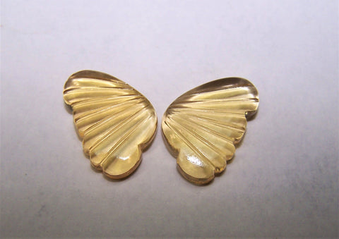 Citrine C2-C3 Shade Fancy Butterfly Wings Shaped Hand Carved Gems, Sample Pieces Loose Gems,100 % Natural AAA