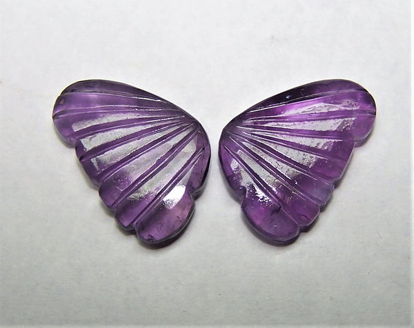 Custom Made - African Amethyst Fancy Butterfly Wings Shaped Hand Carved Gems, Sample Pieces Loose Gems,100 % Natural AAA