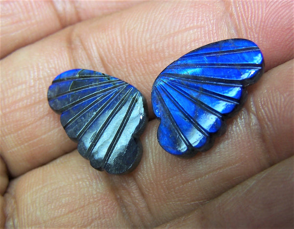 Blue Fire Labradorite Black/Grey Opaque, Fancy Butterfly Wings Shaped Hand Carved Gems, Sample Pieces Loose Gems,100 % Natural AAA