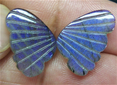 Custom Cut Blue Fire Labradorite (Semi-Translucent) Fancy Butterfly Wings Shaped Hand Carved Gems, Sample Pieces Loose Gems,100 % Natural AAA