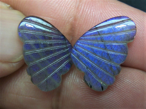 Blue Fire Labradorite (Semi-Translucent) Fancy Butterfly Wings Shaped Hand Carved Gems, Sample Pieces Loose Gems,100 % Natural AAA