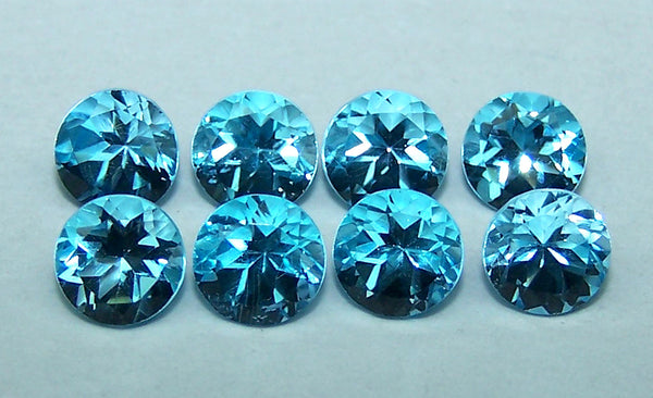 Masterpiece Calibrated 5 mm Round Cut Swiss Blue Topaz 100 % Natural, Loose Gemstone Lot/Parcel