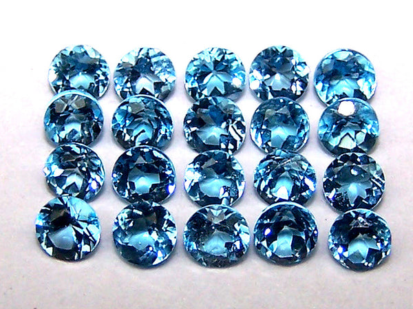 Masterpiece Calibrated 3 mm Round Cut Swiss Blue Topaz 100 % Natural, Loose Gemstone Lot/Parcel