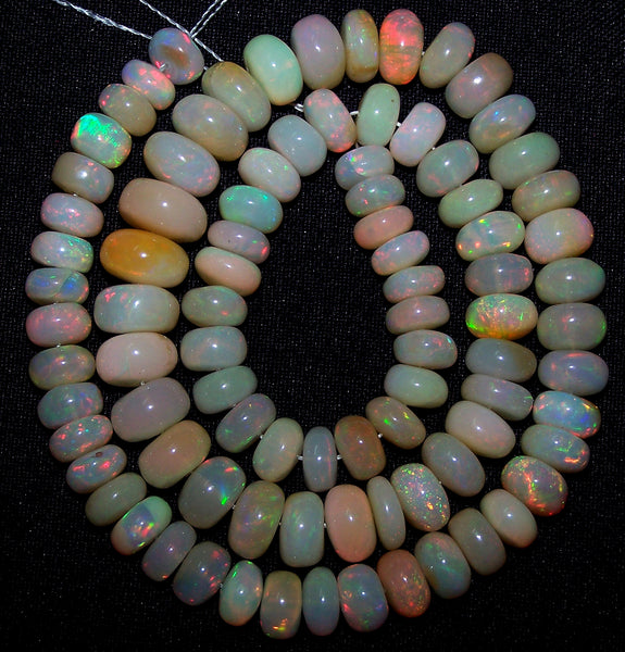 "Ultra Rare 163.80 Cts Huge Insane Multi Rainbow Fire Ethiopian Welo Opal Rondelle Beads String 7.5 to 10 MM 17 "" Long > For Necklace"