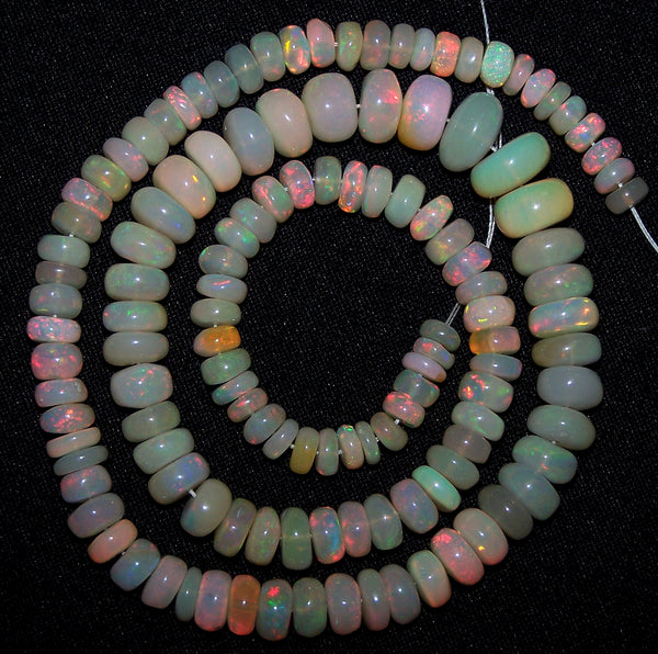 "Rare 93.80 Cts Huge Insane Multi Rainbow Fire Ethiopian Welo Opal Rondelle Beads String 5.5 to 9.5 MM 16 "" Long > AAA For Necklace"