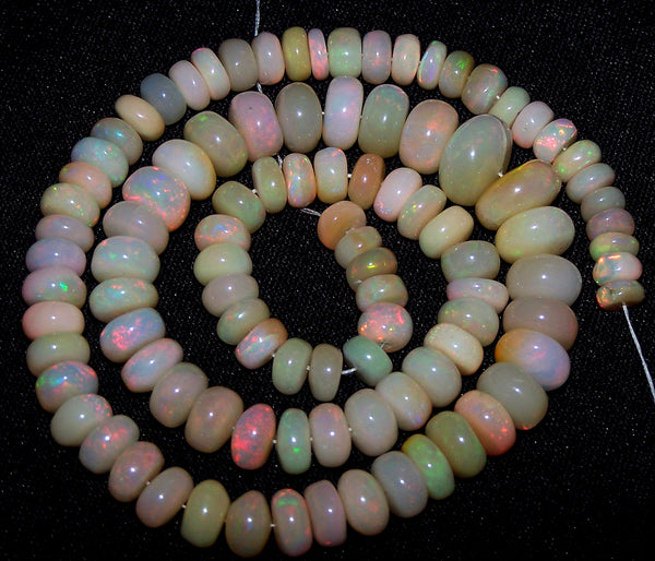 "Ultra Rare 125.80 Cts Huge Insane Multi Rainbow Fire Ethiopian Welo Opal Rondelle Beads String 5.7 to 11 MM 16 "" Long > AAA For Necklace"