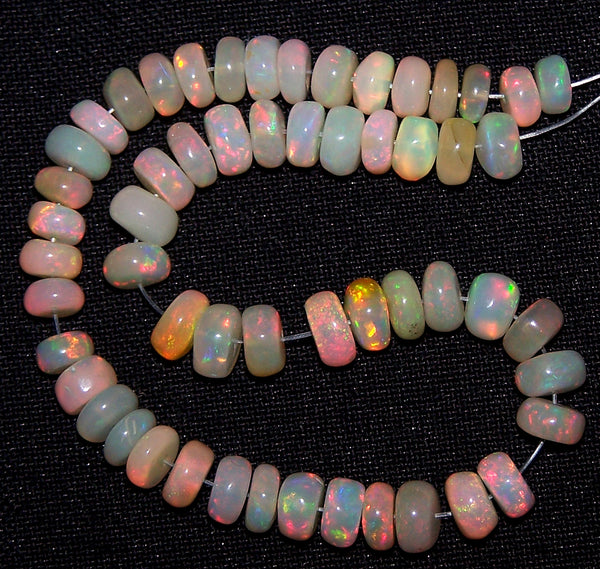 "Ultra Rare 73.40 Cts Huge Insane Multi Rainbow Fire Ethiopian Welo Opal Roundel Beads String 5.5 to 6.8 MM 14 "" Long > AAA For Necklace"