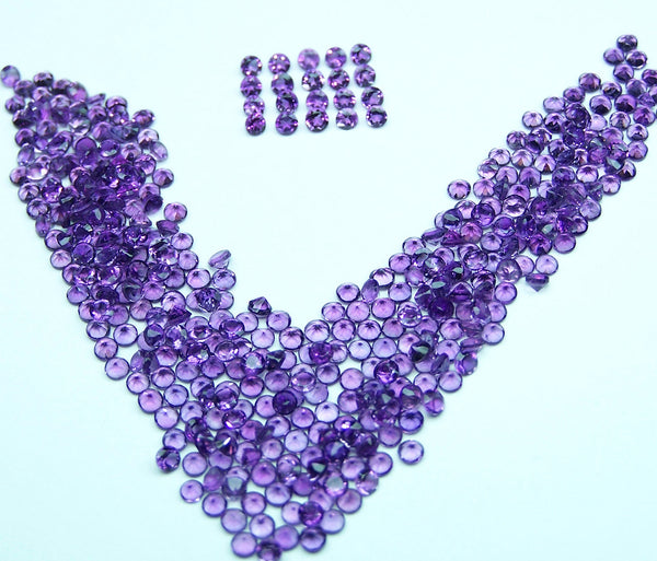 Amazing Hot Purple-Blue Shade of Masterpiece Calibrated 2 mm Round Cut African Amethyst, 100 % Natural Loose Gemstone