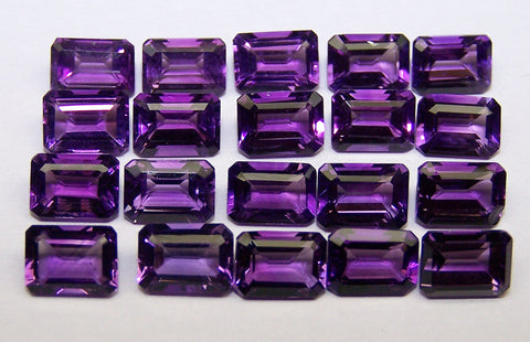 Amazing Hot Purple-Blue Shade of Masterpiece Calibrated 7 x 5 mm Emerald Cut Octagon of African Amethyst, 100 % Natural Loose Gemstone Wholesale Lot/Parcel AAA