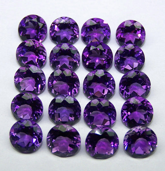 Masterpiece Calibrated 7 mm Round Cut African Amethyst, Top Premium Shade, Amazing Hot Purple-Blue,100 % Natural Loose Gemstone Per Order
