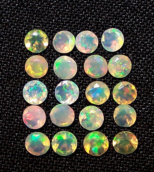 Masterpiece Calibrated 3 mm Faceted Round Cut Insane Rainbow Fire Ethiopian Welo Opal, 100 % Natural Loose Gemstone