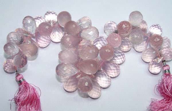 Ultra Premium 622 cts Top Pink Transparent Rose Quartz Micro - Faceted Tear Drops (59 - 60 pieces) Drop Beads, Full Layout 16 x 9 to 20 x 11 MM AAA