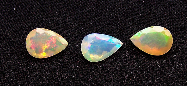 3.30 cts Insane Metallic Rainbow Fire Color Play Ethiopian Welo Opal Faceted 7 x 10 MM Pears : Loose Gemstone Lot/Parcel > AAA : Also has Matched pair for Earrings