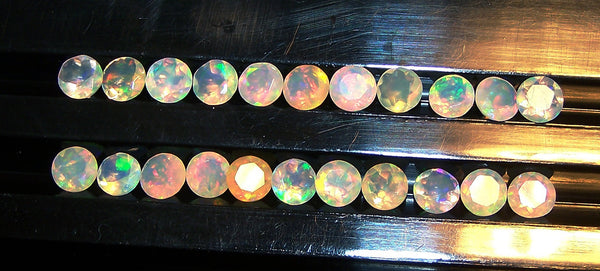 Masterpiece Calibrated 5 mm Faceted Round Cut Insane Rainbow Fire Ethiopian Welo Opal, 100 % Natural Loose Gemstone