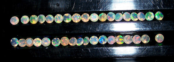 Masterpiece Calibrated 4 mm Faceted Round Cut Insane Rainbow Fire Ethiopian Welo Opal, 100 % Natural Loose Gemstone