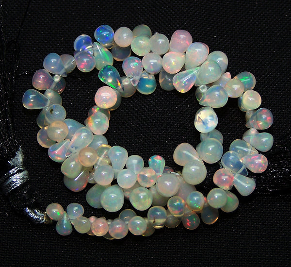 35.80 cts Insane Rainbow Fire Transparent Ethiopian Welo Opal Tear Drop (104 Pcs) Beads Layout 3.5 to 6.5 MM
