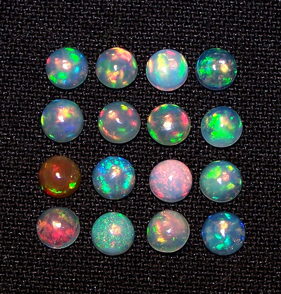 Calibrated Insane Metallic Rainbow Fire Color Play Milky & Transparent 4 MM Round Ethiopian Welo Opal Cabochon Loose(1 Pc) AAA