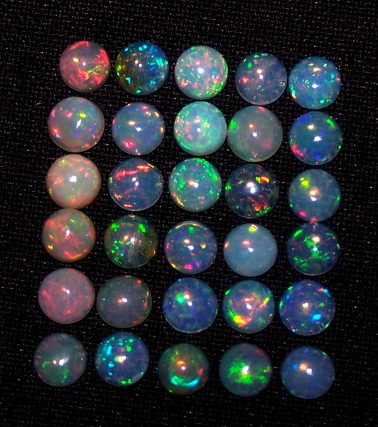Calibrated Insane Metallic Rainbow Fire Color Play Milky & Transparent 5 MM Round Ethiopian Welo Opal Cabochon Loose(1 Pc) AAA