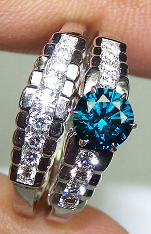 Signature Fancy Peacock Blue Diamond Brilliant Cut & G/H VS Diamond Bridal Engagement Ring Set 18 K White Gold