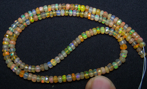 41.70 cts Insane Natural Multi Rainbow Color Play, Orange Transparent Ethiopian Welo Opal Micro Faceted Beads String 4 to 4.8 MM AAA 16 inch