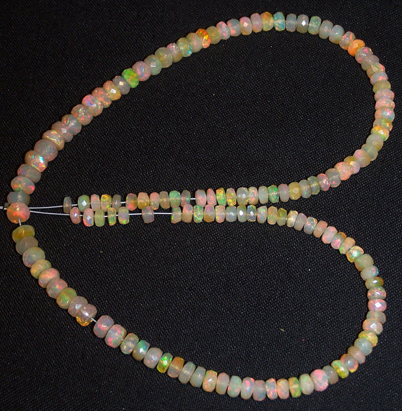 56 cts Insane Natural Multi Rainbow Color Play, Milky Ethiopian Welo Opal Micro Faceted Beads String 4 to 6 MM AAA 16 inch