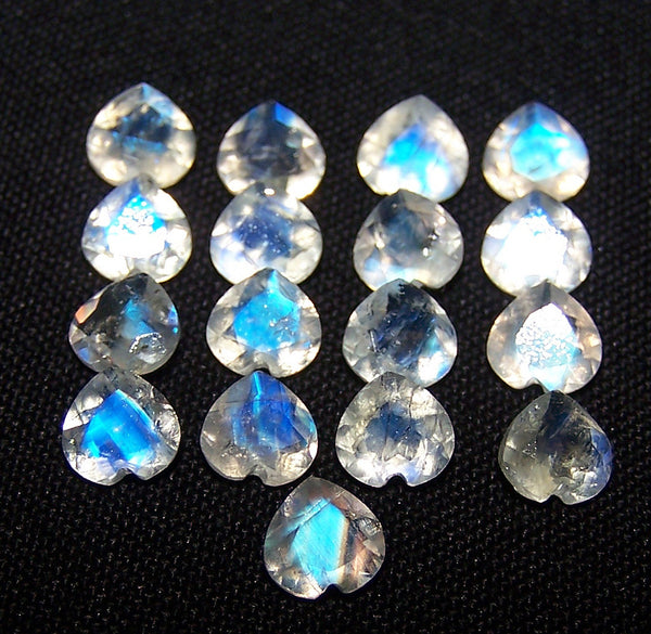 Blue Flashy White Rainbow Moonstone 6 x 6 mm Heart Cut Loose Gem, Masterpiece Calibrated 100 % Natural Gemstone AAA (1 Piece) Per Order