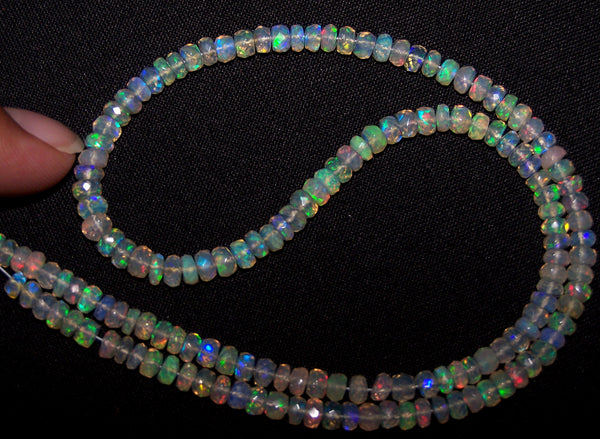42.30 cts Insane Natural Multi Rainbow Color Play Transparent Ethiopian Welo Opal Micro Faceted Beads String 4 to 4.8 MM AAA