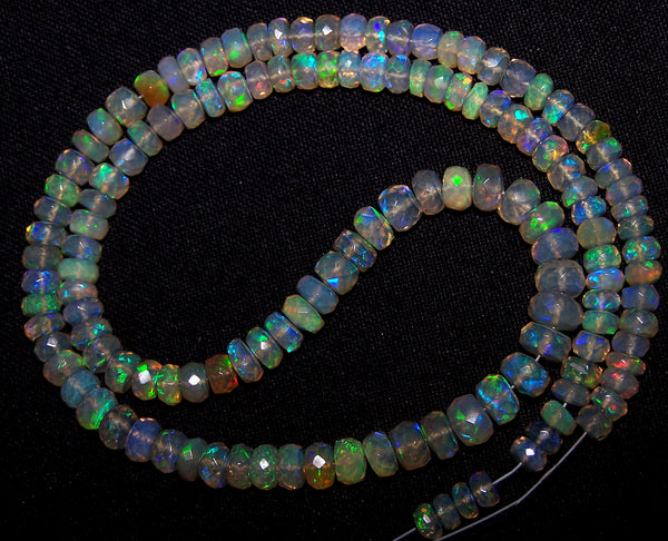 53.70 cts Insane Natural Multi Rainbow Color Play, Transparent Ethiopian Welo Opal Micro Faceted Beads String 4.5 to 6 MM AAA 16 1/2 inch