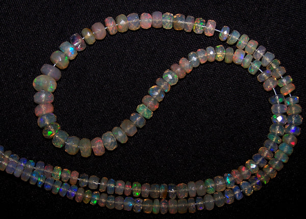 54 cts Natural Multi Rainbow Color Play, Transparent Ethiopian Welo Opal Micro Faceted Beads String 4 to 7.5 MM AAA 16 1/2 inch