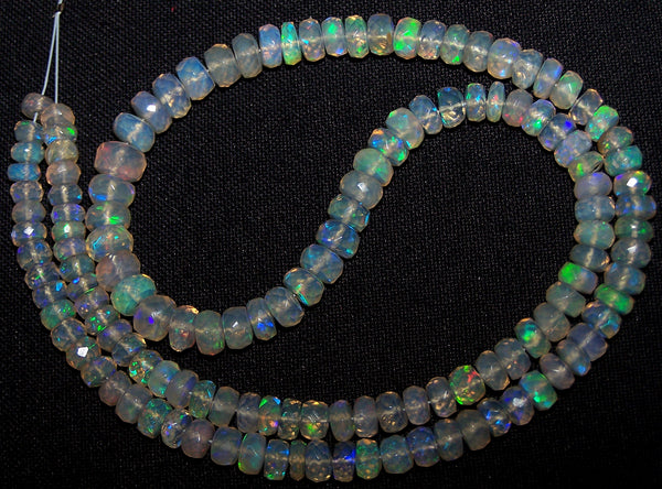 57.90 cts Insane Natural Multi Rainbow Color Play Transparent Ethiopian Welo Opal Micro Faceted Beads String 4.5 to 6.8 MM AAA