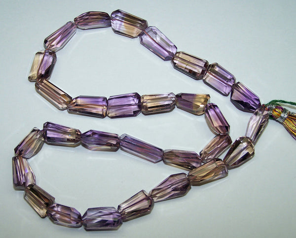 Unique 241 Cts Natural Ametrine (amethyst & Citrine Bio) Faceted Tumble/nugget Beads - Full 18 Inch Strand